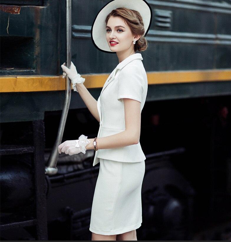 Conjunto de mujer de verano 2020, trajes elegantes para oficina, conjunto de 2 piezas ajustado, ropa de trabajo de negocios femenina, Top de manga corta, uniformes con falda