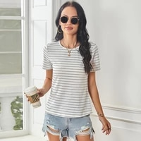 summer o neck short sleeve t shirt women striped slim patchwork tops minimalist ladies casual home tee shirt