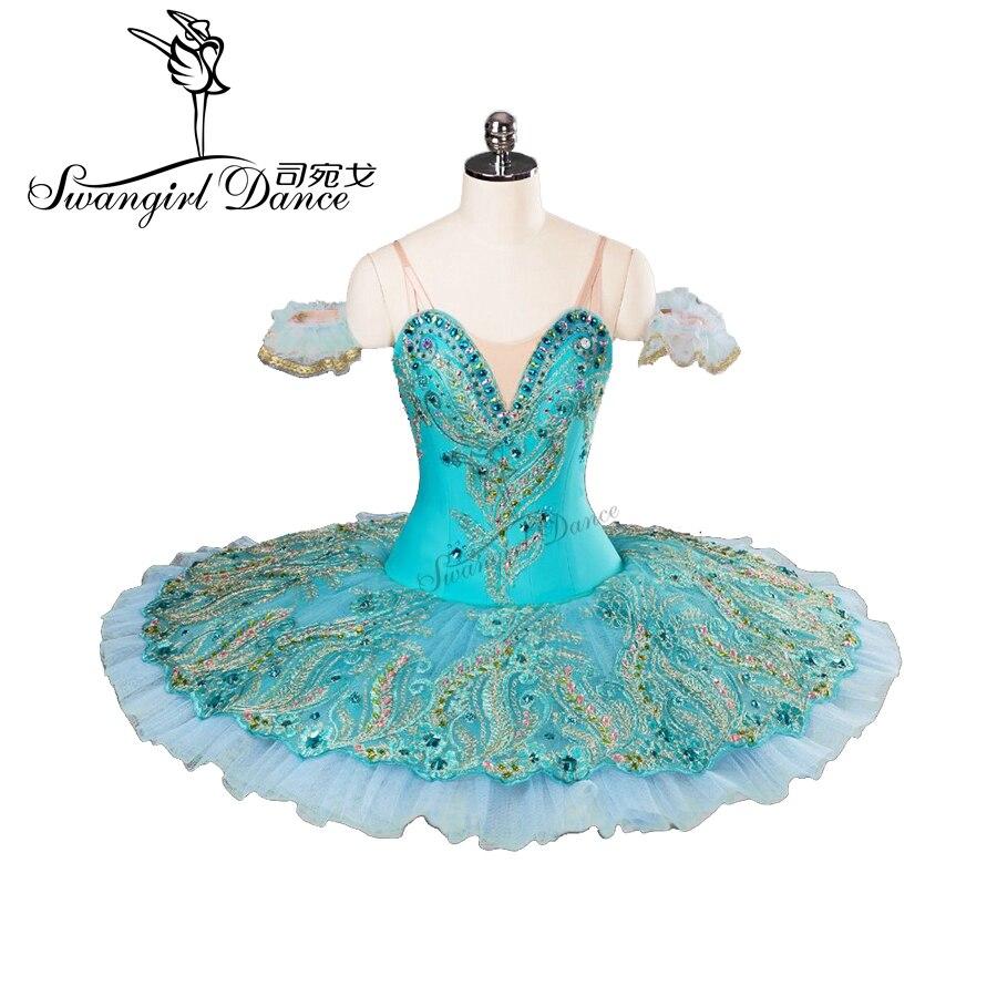 De alta calidad azul profesional tutu con diamante tutu para ballet infantil traje de tutu BT9106