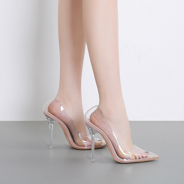 2020 new spring transparent high-heeled shoes with pointed toes, shallow mouth, thin and sexy one-pi