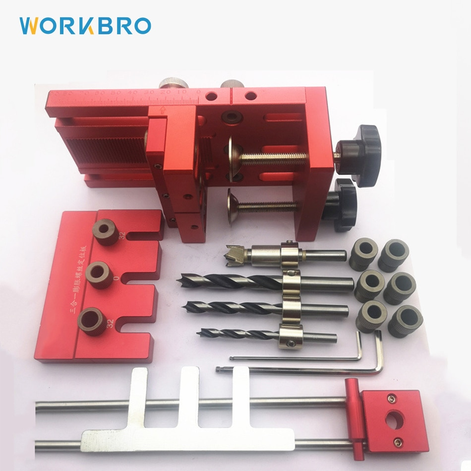 4 in 1 Woodworking Hole Drill Punch Positioner Guide Locator Jig Joinery System Kit Aluminium Alloy Wood Working DIY Tool
