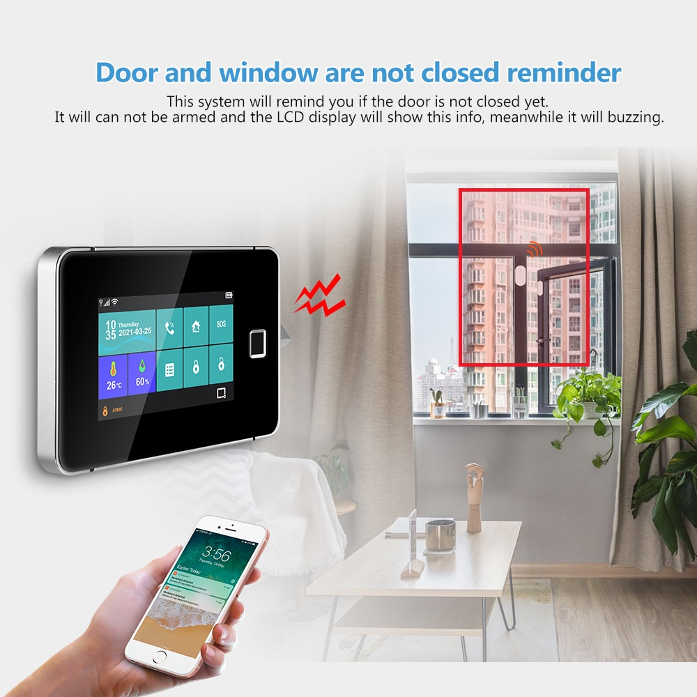 Tuya GSM WIFI Smart Home Security Alarm System 433Mhz Wireless Fingerprint Touch Screen Temperature And Humidity Host Sensor Kit enlarge