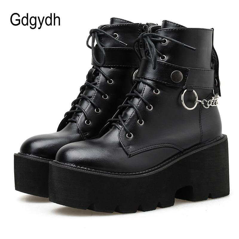 Женские ботинки на платформе Gdgydh, черные кожаные ботинки на блочном каблуке с цепочкой в стиле панк, на осень