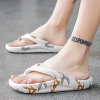summer new fashion outdoor korean version of the trend of stepping on excrement coconut slippers slip proof flip flops