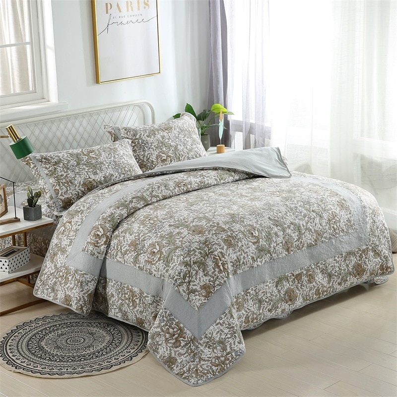 الرعوية نمط القطن لحاف ل سرير 3 قطعة مبطن المفارش غطاء السرير المخدة الملك الملكة لحاف مجموعة الصيف بطانية بطانيات