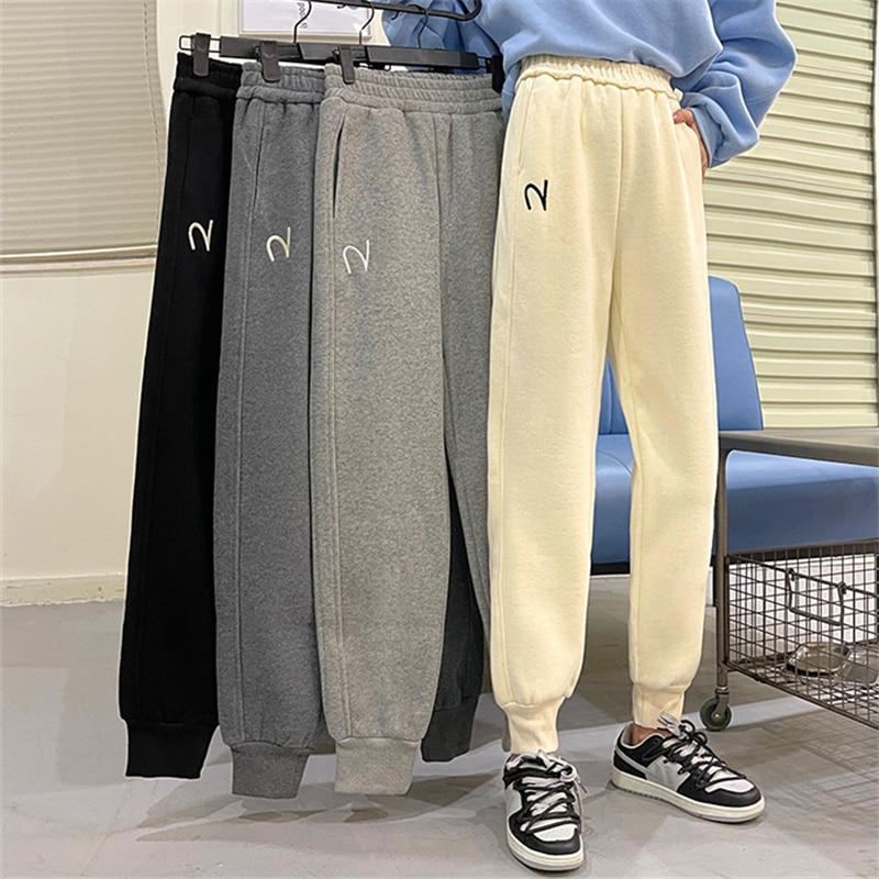 Casual Sports Pants Female plus Velvet Thickened Korean Style Loose Slimming and Straight All-Match