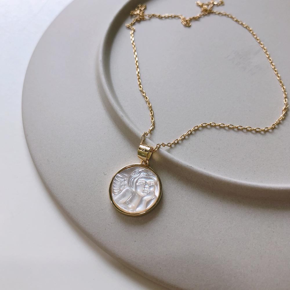 Regalo auténtico 925 silver Shell guardianes Angel Baby Wings collares colgantes redondos TLX472