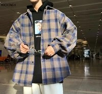 harajuku block plaid block 2020 mens men streetwear mens thick manly sleeve shirts of vintage korean fashion clothes 2021