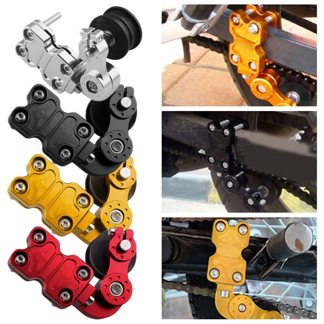 Rodillo tensor de cadena de ajuste de aluminio portátil Universal 4 colores accesorios modificados para motocicleta