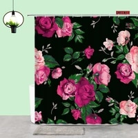 red rose shower curtain fabric black background plant flowers printing bathroom curtains home toilet art decor bathroom products