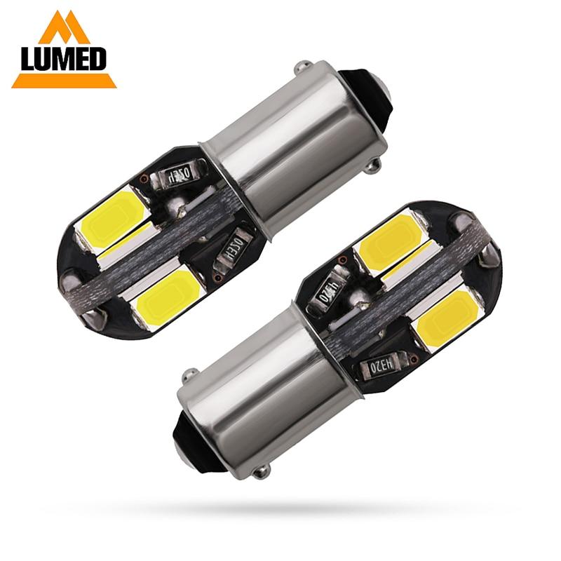 500 Uds bombillas de coche BA9S T4W 8 Led 5630 5730 Canbus lámparas Error libre T4w H6w Interior coche con luces fuente de luz aparcamiento