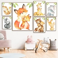 cartoon mother baby fox giraffe elephant monkey wall art canvas painting nordic posters and prints wall pictures kids room decor