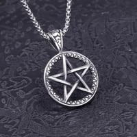 new retro five pointed star round hollow pendant necklace mens necklace fashion metal sliding pendant accessories party jewelry