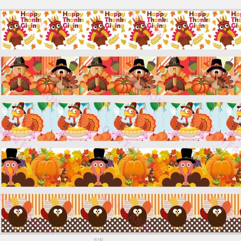 Q & N ленты 50 ярдов 16 мм-75 мм благодарения индейки корсаж/враг ленты для DIY лук Ремесло Свадьба Рождество украшения партии
