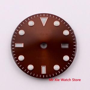 28.5mm no logo luminous date window Red Watch Dial fit ETA 2824 2836 MIYOTA 8215 821A Mingzhu DG2813 Automatic Movement