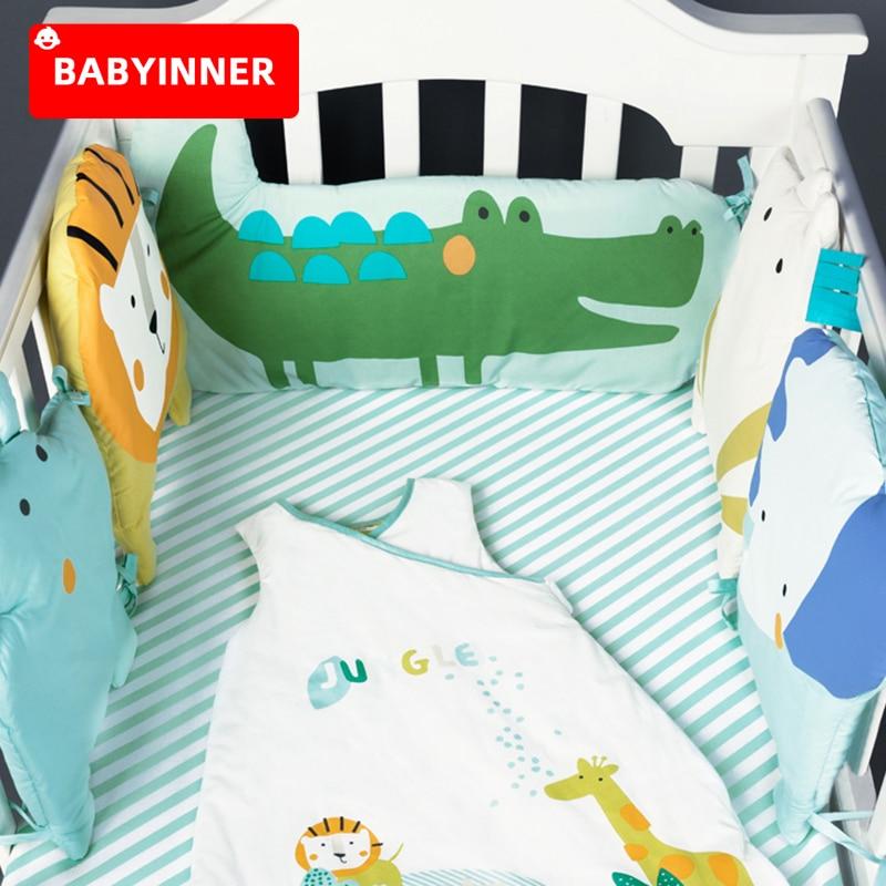 Babyinner 5Pcs/Set Baby Bed Bumper Cotton Crib Fence Sheet Child Cartoon Animals Newborn Cot Protect Anti-collision Room Bedding