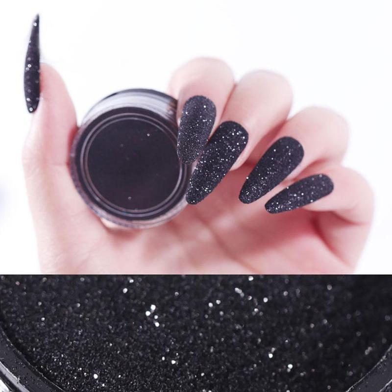 1 Box Black Sequins Powder Dust DIY Nail Glitter ail Art Pigment Glitter Laser Sequin Decoration Manicure
