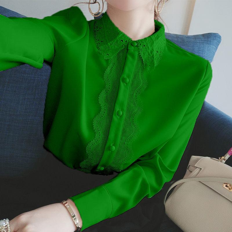 Chiffon shirt women lace collar 2020 autumn loose new Korean light mature shirt women design sense French top недорого