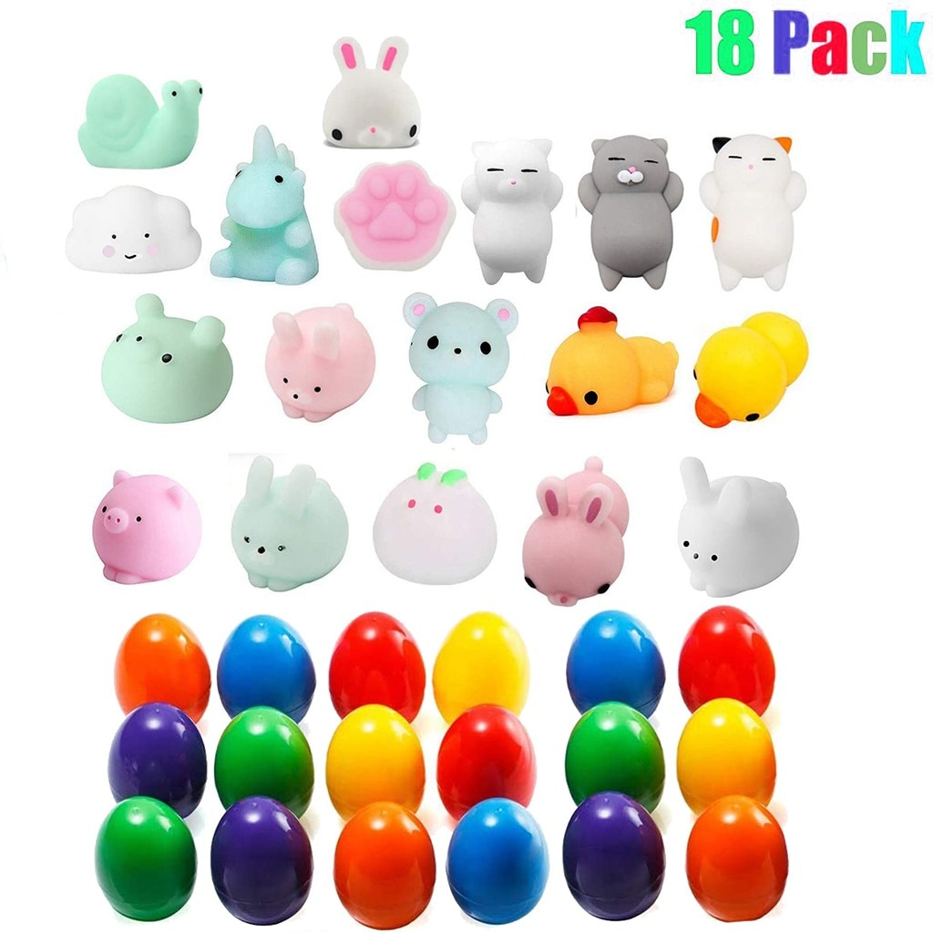 18PCS Fidget Toys Plastic Easter Eggs Filled Toys With Cute Squishy Animals Stress Relief Toy Soft Reliever Anxiety Toy Gift W* enlarge