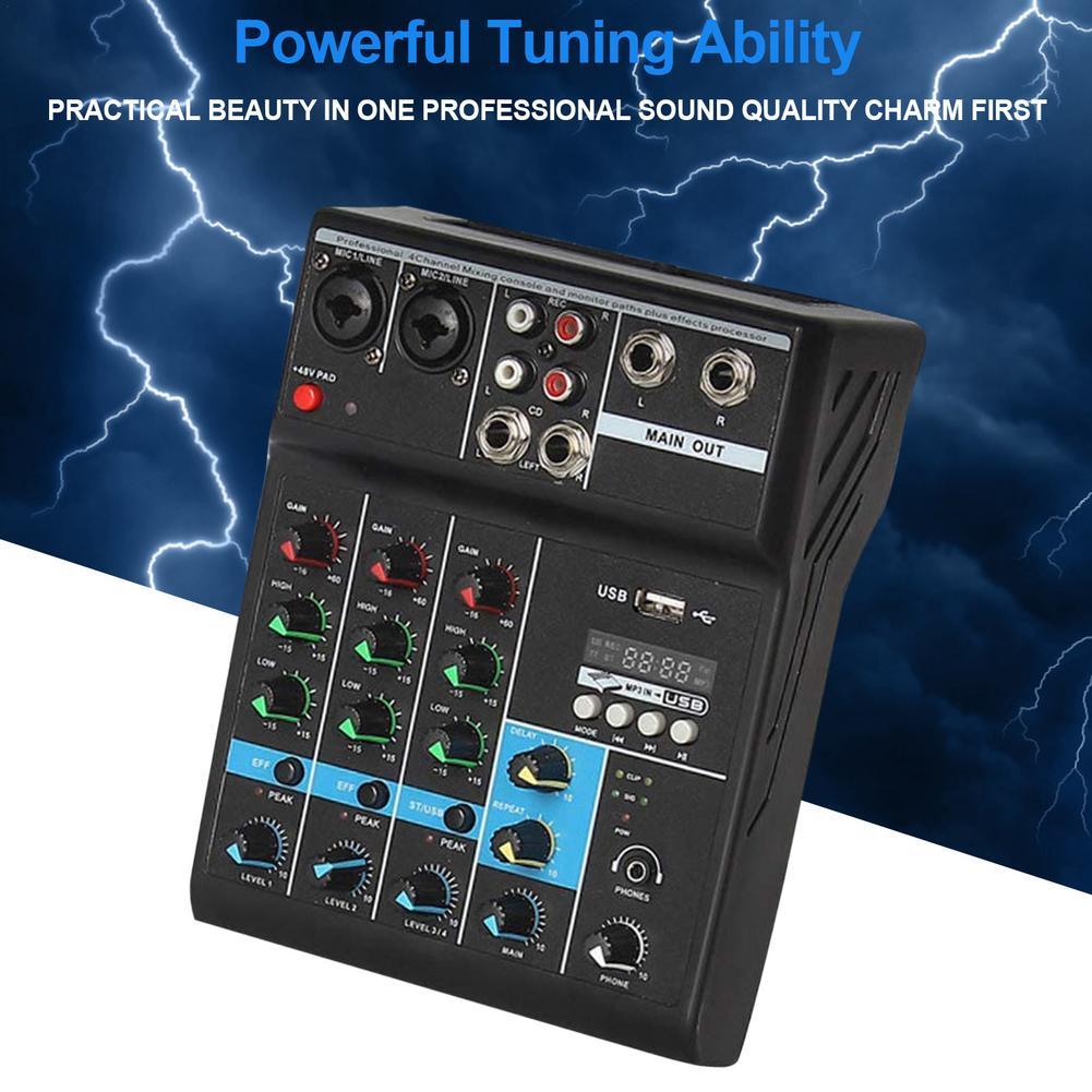 4-way Tuning Table USB Audio DJ Mixer Perform Live Singing Recording Computer Phone Sound Card Reverberation DJ Device