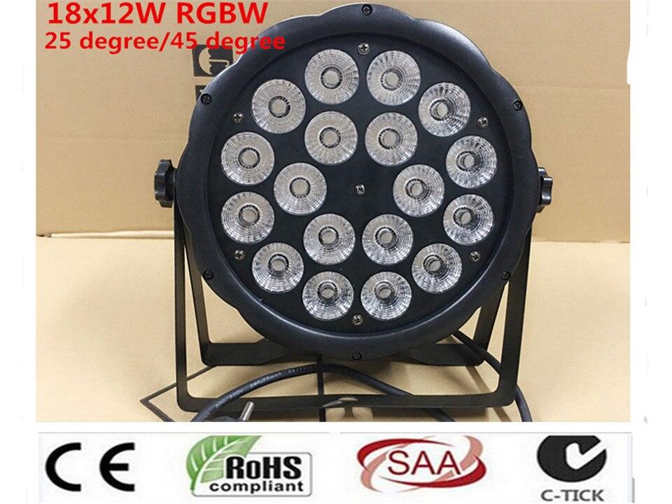 LED Par 18x12 W RGBW 4IN1 luce della lavata di Lusso kontroler DMX reflektor Led Flat Par Luci dj