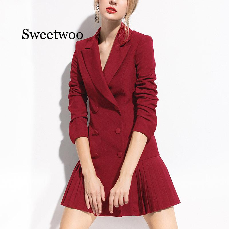 Outono moda blazer feminino vestido ternos duplo botões xale colarinho manga longa plissado blazers vestido terno jaqueta