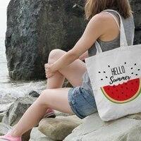 reusable large capacity new womens casual canvas shopping bag hello summer watermelon print eco tote travel bag lady handbag