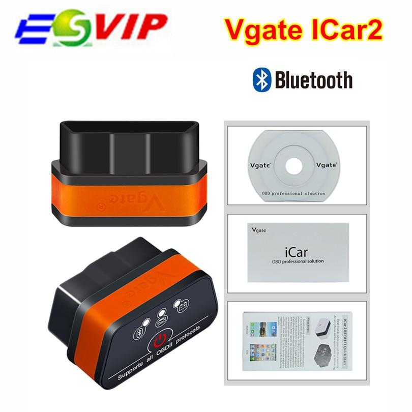 Nuevo Vgate Bluetooth iCar2 OBDII ELM327 iCar2 Bluetooth Vgate de diagnóstico OBD interfaz para PC Android