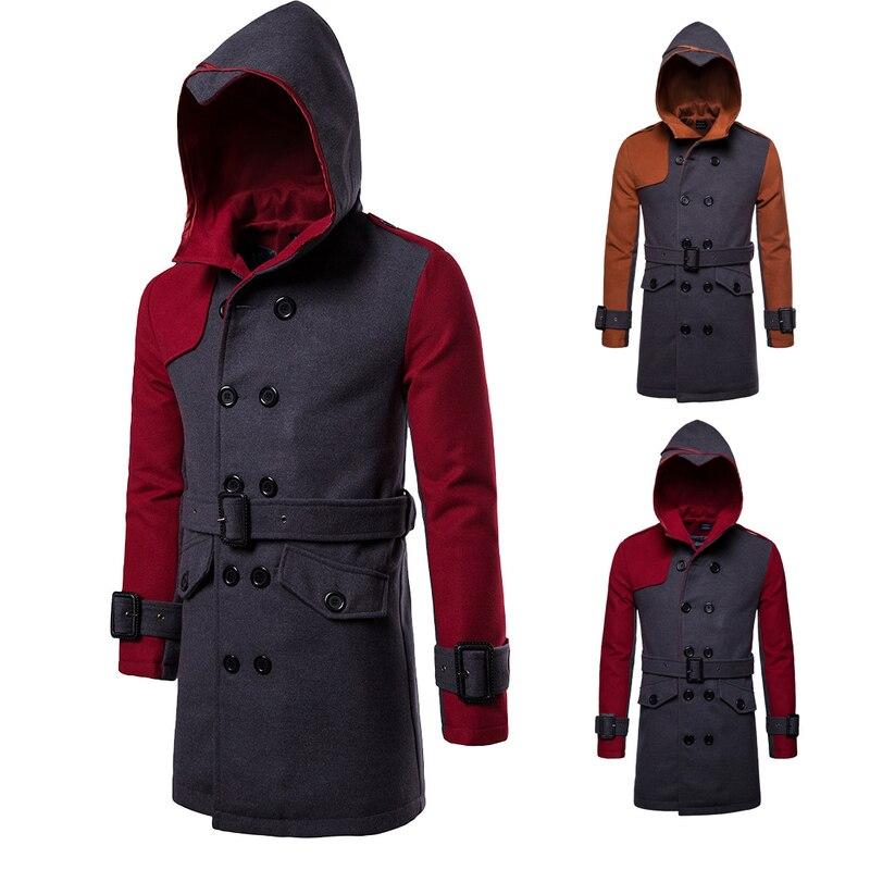 Men's New Double-breasted Hooded Belt Long Windbreaker Mens Trench Coat Jacket Long Hooded Overcoat Jackets for Men 2020