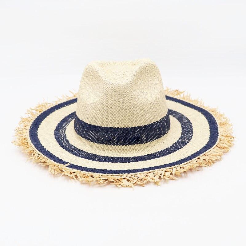 Sombrero de paja de papel con flecos de rafia a rayas clásico, sombrero con visera de Jazz, sombrero de playa para mujer, sombrero de sol de verano para hombre, sombrero UV, sombrero de Derby Kuntucky