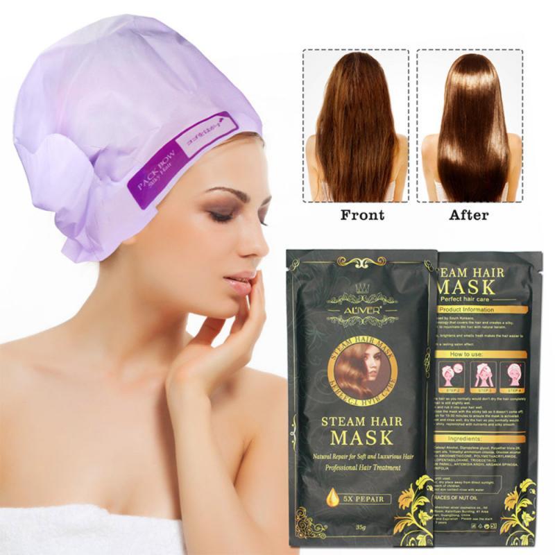 1 mascarilla calentamiento Automática de vapor para el cabello, queratina, aceite de argán, protección para el cuidado del cabello, tratamiento de reparación humectante y seca TSLM2