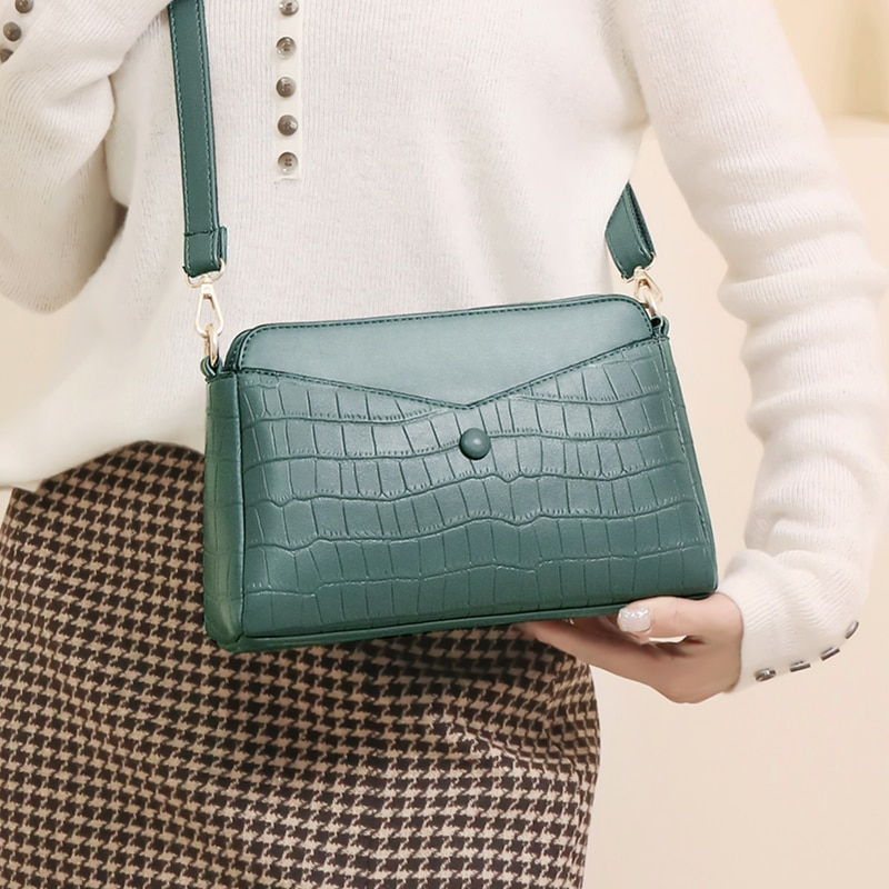Crocodile Pattern Flap Bags for Women 2021 New High Quality Pu Leather Crossbody Handbag Female Wallet Small Square Shoulder Bag