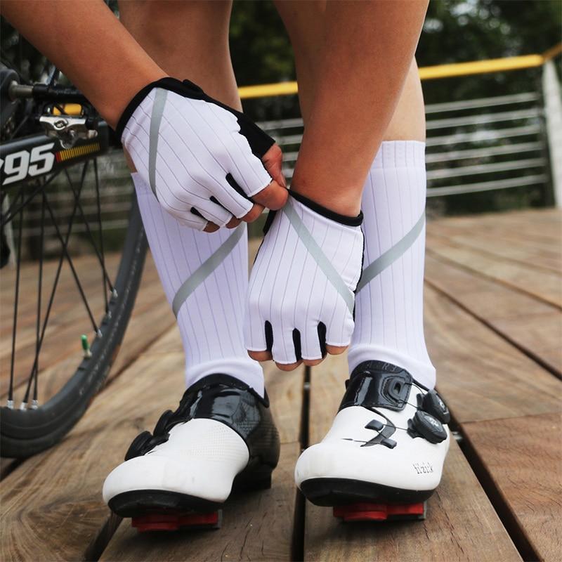 Cycling Gloves High Reflective Anti-slip MTB Road Bike Gloves Cycling Socks Men Women Half Finger Gloves Bicycle Sock Set breathable cycling gloves road bike gloves men sports half finger anti slip bicycle mtb road bike gloves