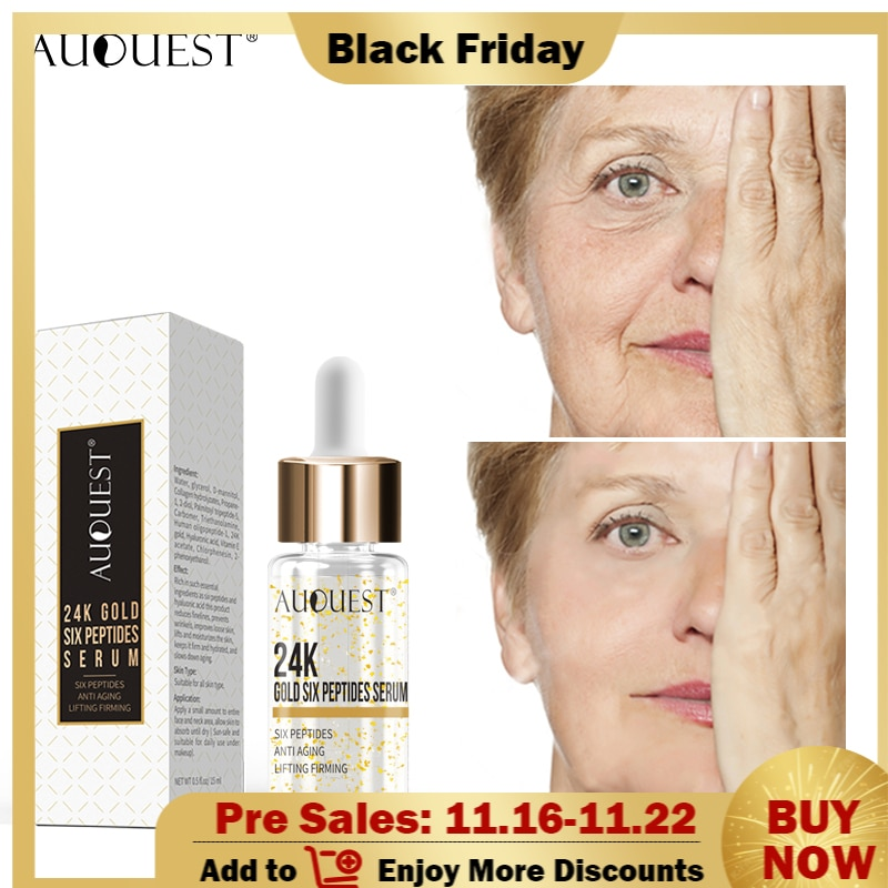 AuQuest 24K Gold Six Peptides Serum Face Cream Anti-Aging Wrinkle Lift Firming Whitening Moisturizing Acne Treatment Skin Care недорого