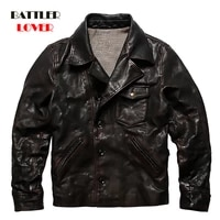 winter jacket pea coat asian size mens genuine cow leather cowhide leather male classic horsehide slim solid clothes