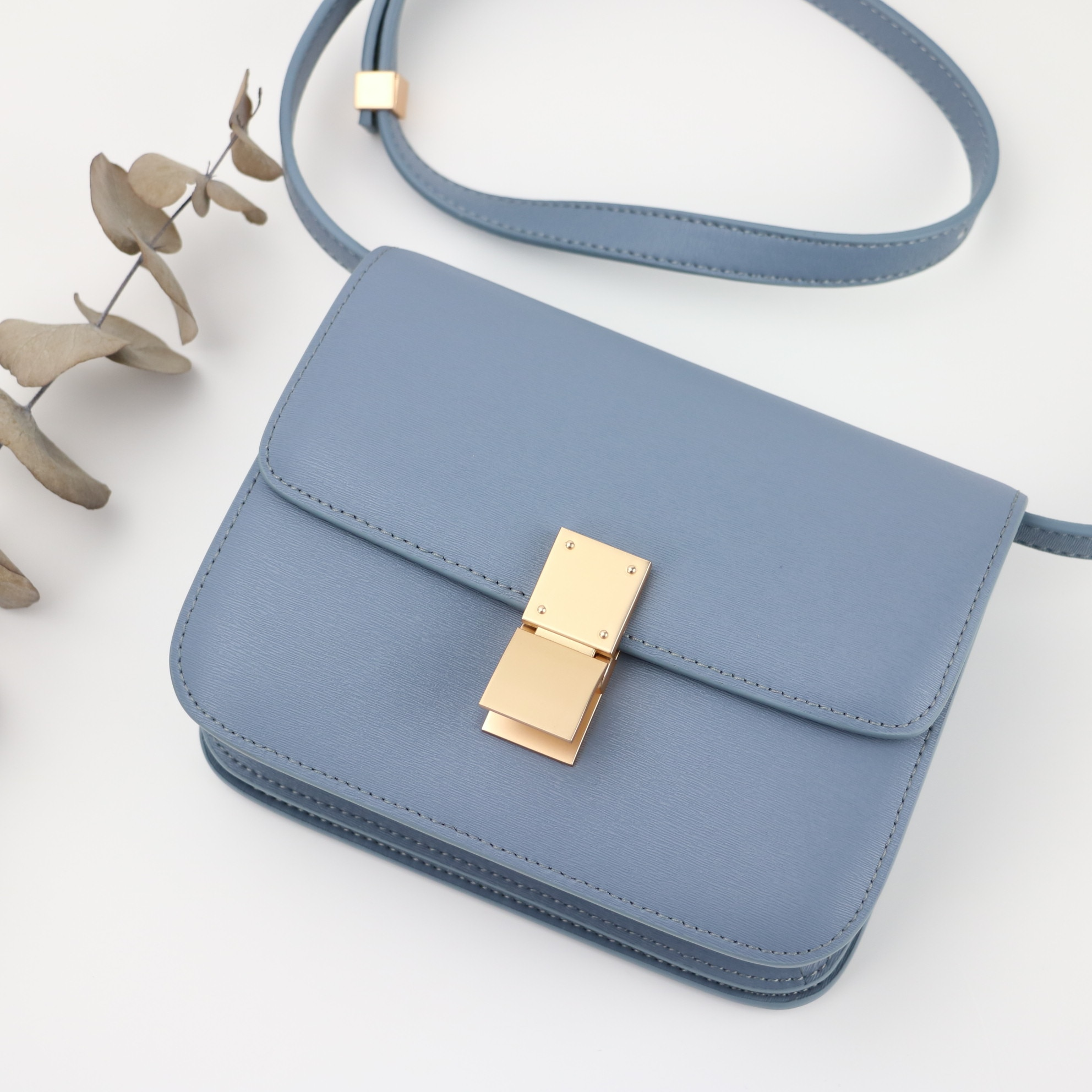 2020 Luxury Design Bag Classic Box Flap Geniune Leather Tofu Bag Square Bag with Lock Women Casual Shoulder Crossbody Bag
