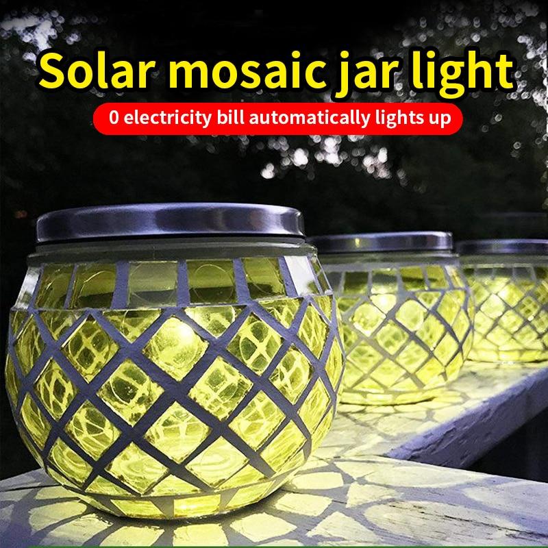Solar LED Light Christmas Lights Cracked Ball Glass Can Lamp Color Changing Garden Lights Lawn Decor LED Lamps Solar Light enlarge
