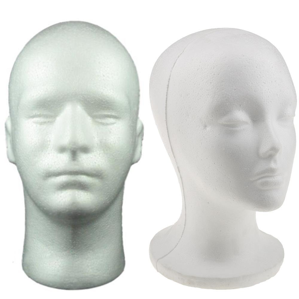 Female Male Mannequin Head White Polystyrene Styrofoam Foam Head Model Stand Wig Hair Hat Headset Display Stand Rack