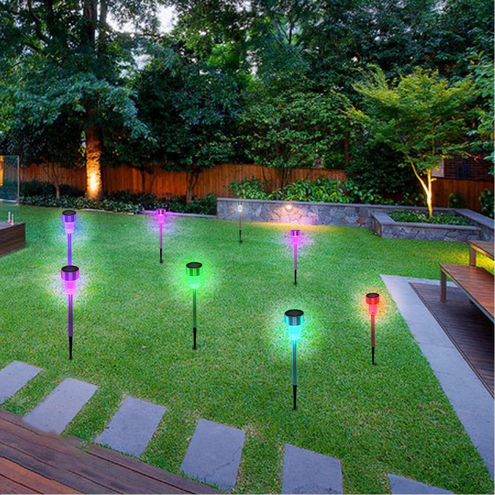 10pcs 5W High Brightness Solar Power LED Lawn Lamps with Lampshades Seven Color Garden Landscape Lights for Lawn Yard