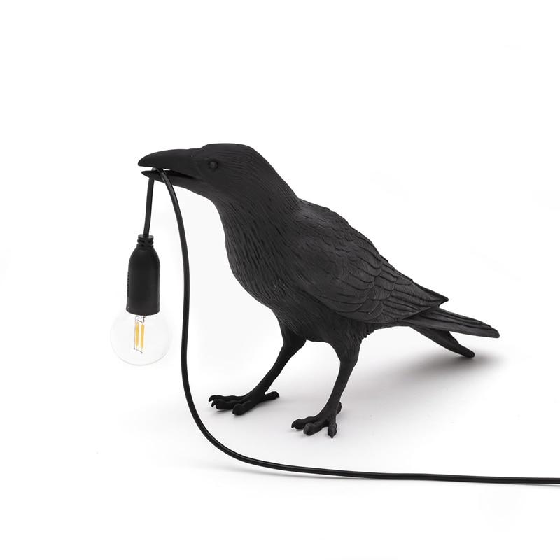 Bird Table Lamp Italian Seletti Bird Lamp Modern Resin Crow Desk Lamp for Living Room Bedroom Light Wall Sconce Home Art Decor