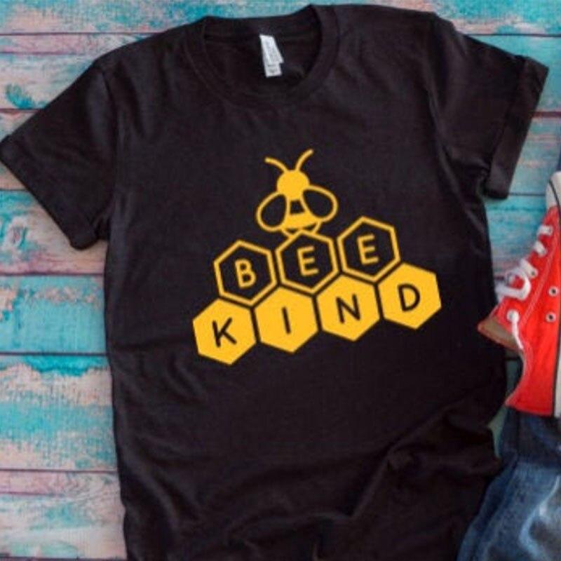 Camiseta de mujer con estampado de letras de abeja, camiseta de manga corta, camisetas de algodón sueltas, camisetas de miel de abejas, Harajuku, camisas Dropshpping