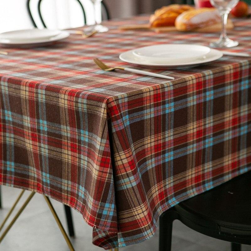 Orgulhoso rosa ano novo natal toalha de mesa retro xadrez algodão linho tecido nórdico casa retangular banquete impresso festa