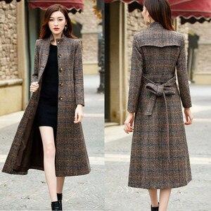 2020 зимняя женская куртка с карманами в клетку, шерстяное пальто, смесь, офисная работа, длинная, модная, женская, тонкая, с поясом, с длинным р...