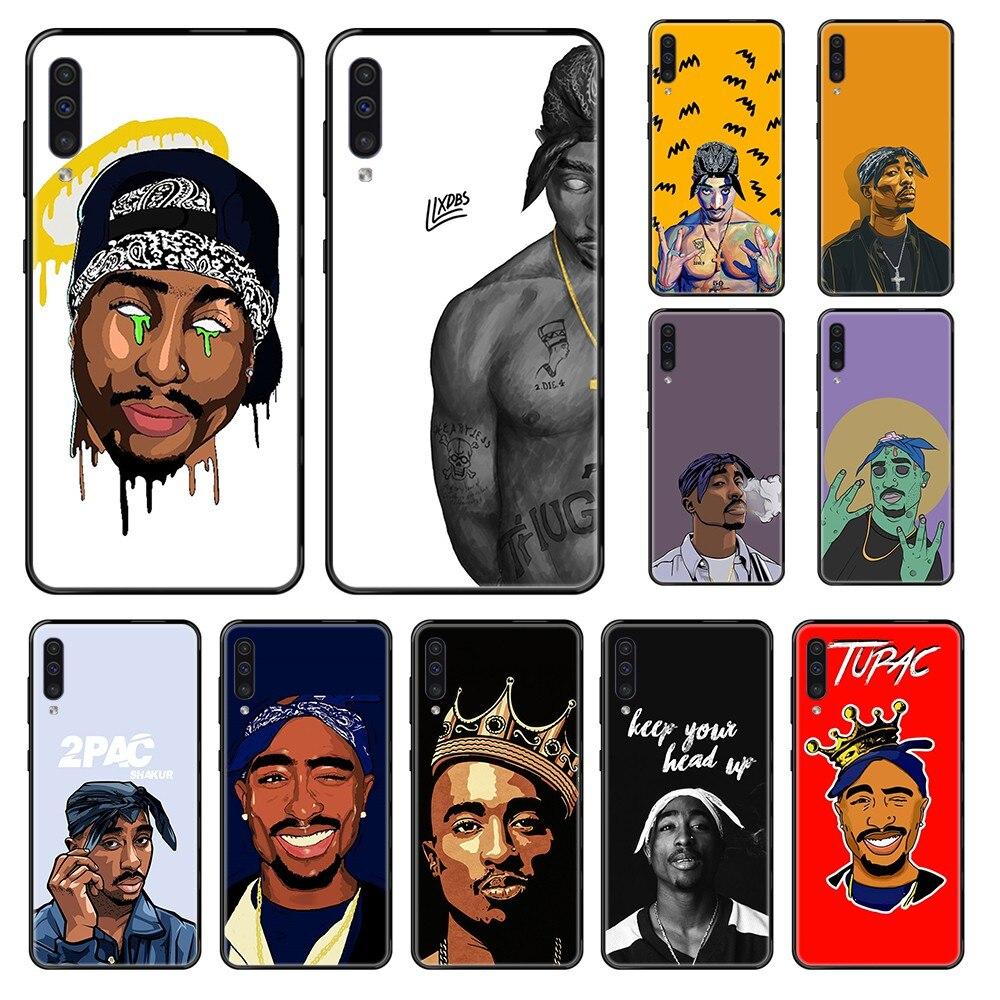 Rapero americano Hip-Hop 2pac Tupac cubierta de teléfono negro para Samsung Galaxy A 3 5 6 7 8 20 40 50 70 71 E S Plus 2016 2017 2018