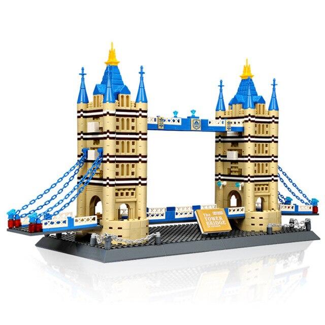 WANGE  World Famous Architecture Notre-Dame London Tower Bridge Building Blocks Bricks Toys Compatible 8013  6 8 10 years old