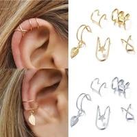 5pcsset ear cuff gold leaves non piercing ear clips unisex fake cartilage earring jewelry for women men