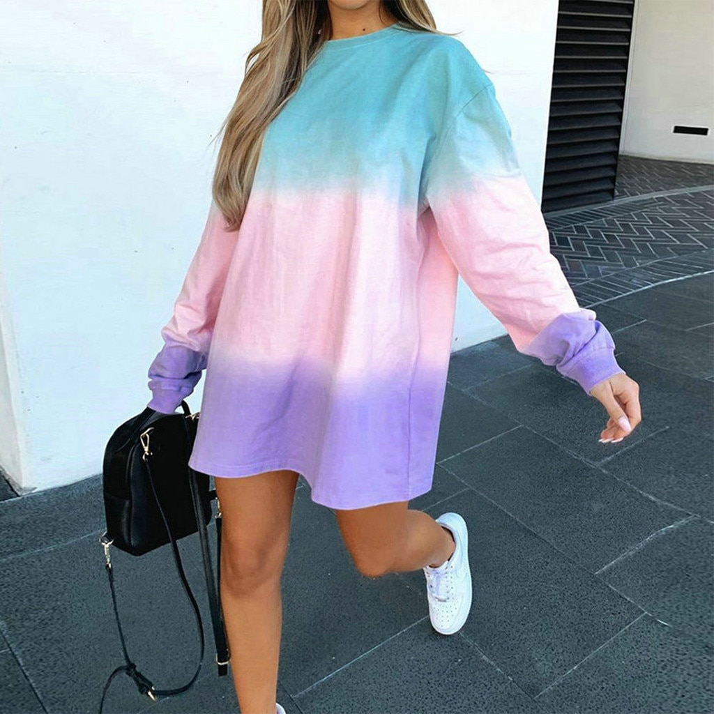 Tie-Dye Printing Women Sweatshirts Autumn O Neck Clothes Casual Sweatshirt Large Size Loose Pullover