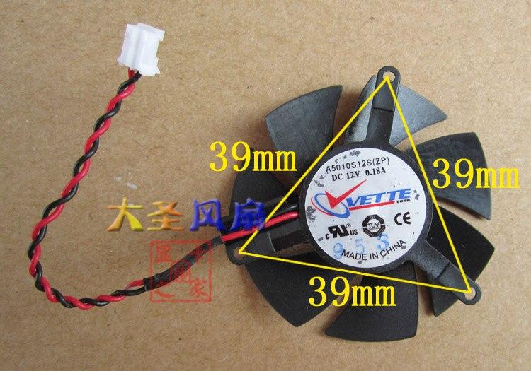 Original para el ventilador de la tarjeta gráfica de zafiro A5010S12S 12V 0.18A 2 líneas diámetro 47mm paso 39MM