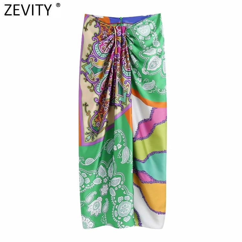 Zevity Women Vintage Cloth Patchwork Floral Print Knotted Sarong Skirt Faldas Mujer Female Back Zipper Chic Slim Vestidos QUN790