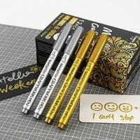 gold silver painting pens metallic art marker set signature graffiti black card diy cd album color pen boxed writing supplies